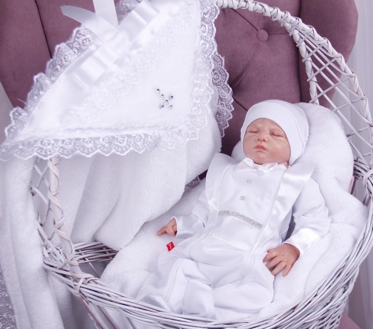 Набор для крещения Фрак белый, крыжма и комбинезон с шапочкой