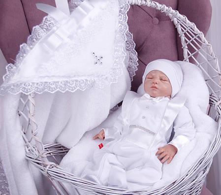 Набор для крещения Фрак белый, крыжма и комбинезон с шапочкой, фото 2