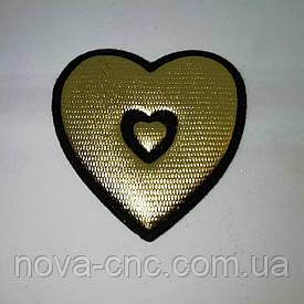 "Аппликация термо-клеевая ""Сердце"" 38 мм  золото упаковка 10 шт"