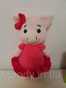 М'яка іграшка свинка із плюшевої пряжі 35 cm