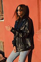 Женская широкая куртка со спущенным плечом из экокожи 42-46 р, фото 2