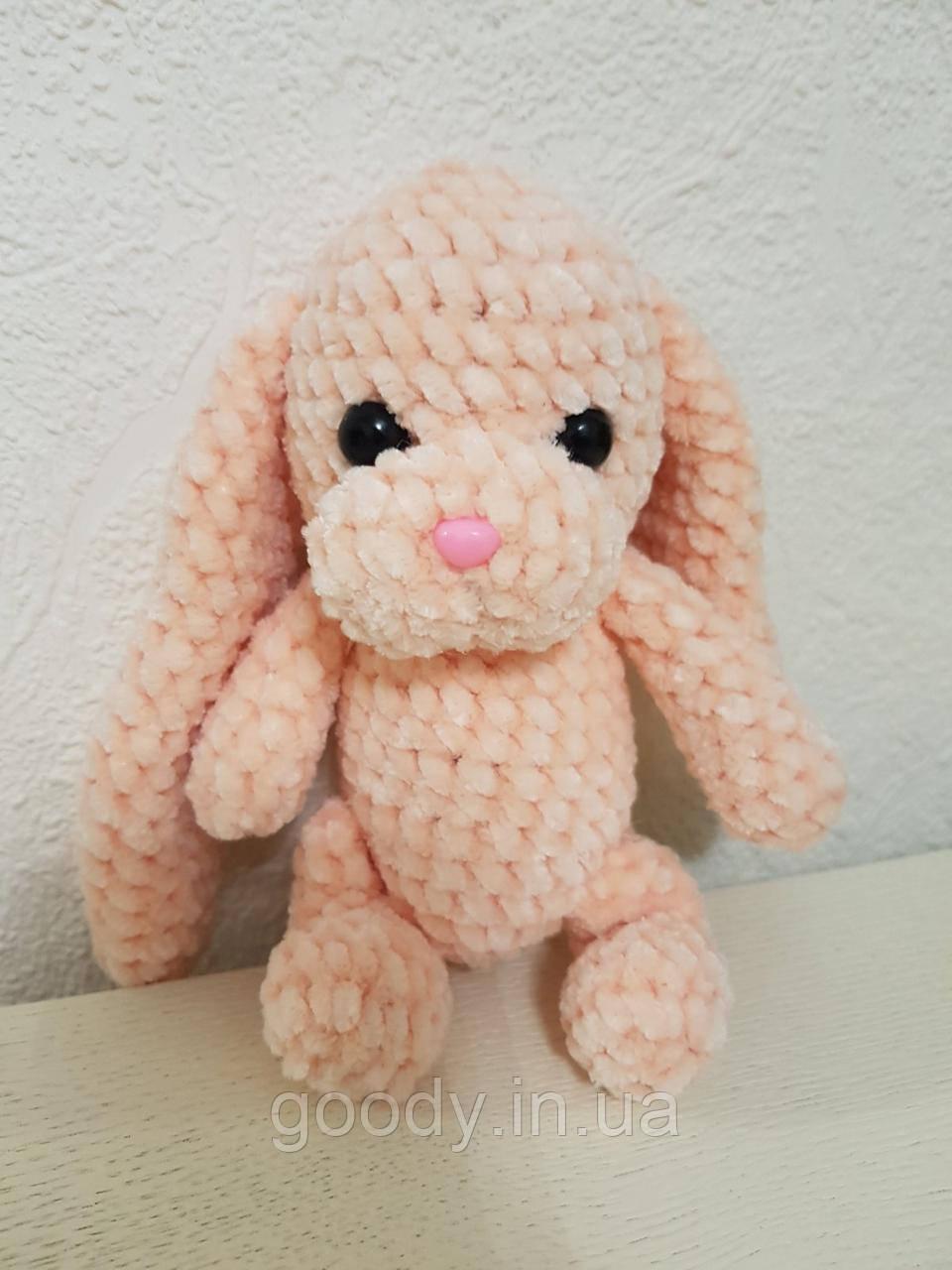 М'яка іграшка заєць із плюшевої пряжі 15 cm