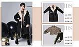 Пальто+пояс, кашемир, эко мех, на подкладе, черный, Моне, р.164, фото 7