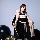 Пальто+пояс, кашемир, эко мех, на подкладе, черный, Моне, р.164, фото 2