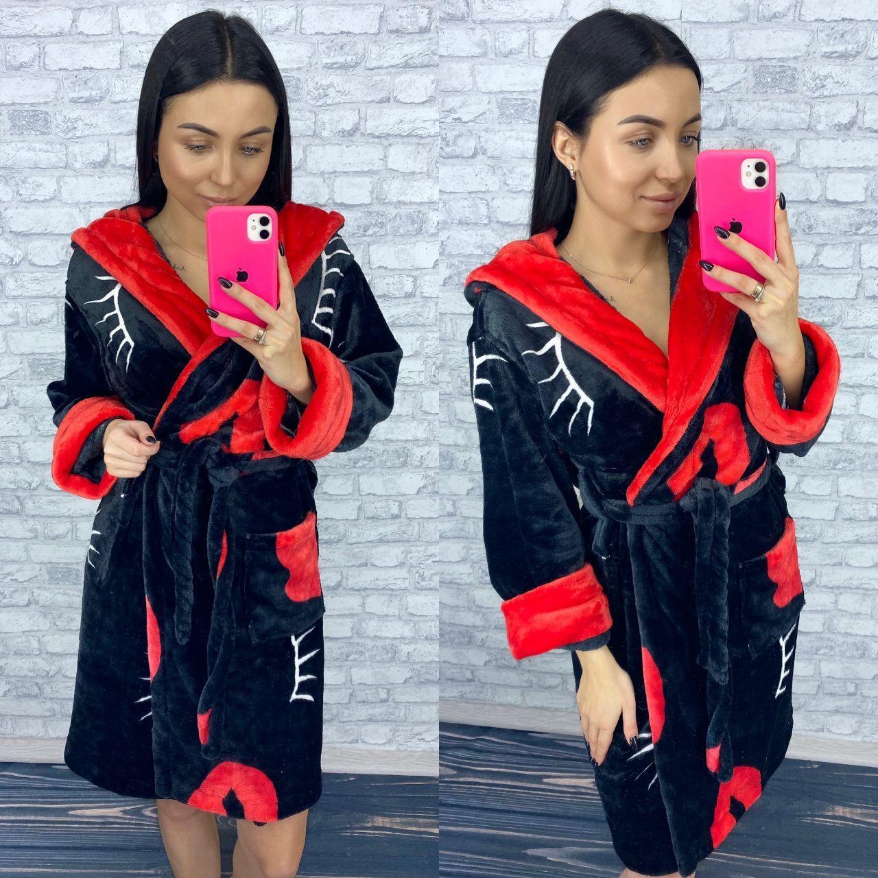 Женский теплый домашний халат черного цвета