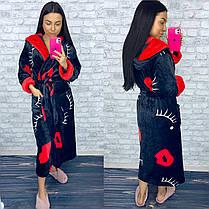 Женский теплый домашний халат черного цвета, фото 3