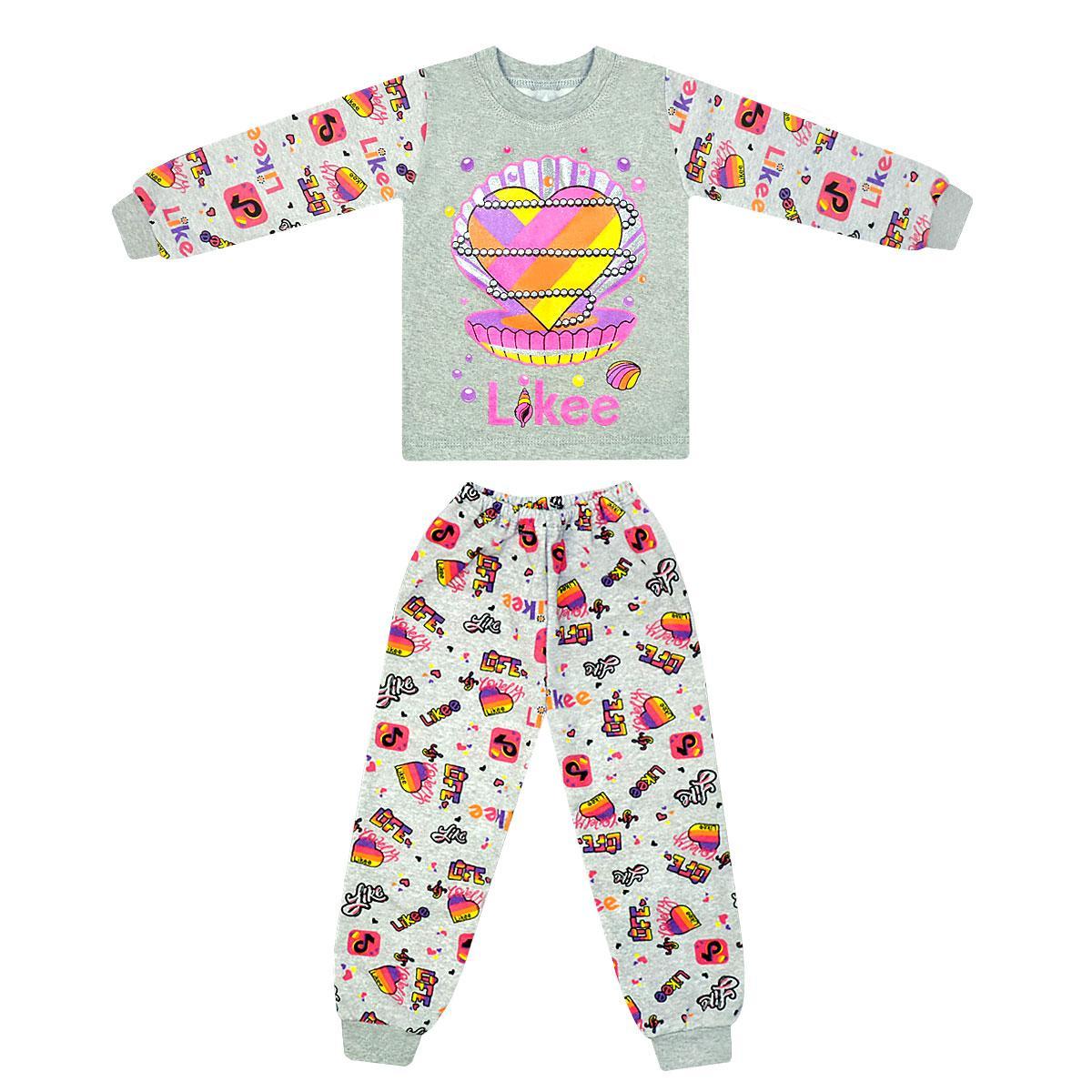 Детская тёплая пижама для девочки с принтом Likee Ракушка начес