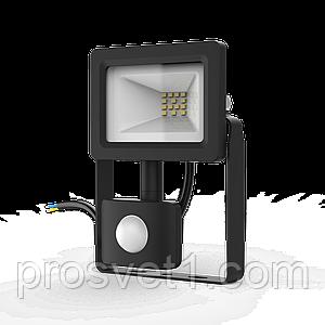 Прожектор LED Гаусса 10W 6500К IP65 з датчиком руху