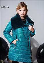 Удлиненная куртка, эко мех, полклад микрофлис, морская волна, Моне, р.146,152,158,164