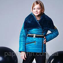 Курточка, цвет морская волна, эко мех мутон, подкладка микрофлис, Моне, р.140,152,164