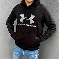 Кофта зимняя мужская Under Armour с капюшоном теплая | толстовка трехнитка на флисе Андер Армор ЛЮКС качества, фото 1