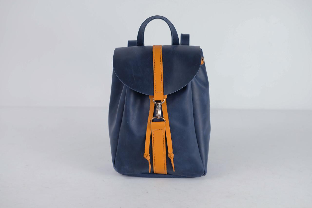 Кожаный рюкзак на затяжках с карабином, размер мини Винтажная кожа цвет Синий + Янтарь