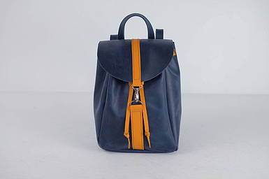 Жіночий шкіряний рюкзак Київ, розмір міні, натуральна Вінтажна шкіра колір Синій + Бурштин