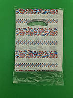 """Пакет с прорезной ручкой тип банан(15х20)""""Вышиванка""""Комсерв (100 шт)Полиэтиленовые пакеты сумки кульки"""