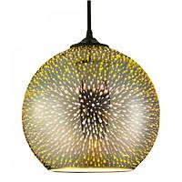 Светильник подвесной QUANTUM Е27 3D-эффект хром круглый