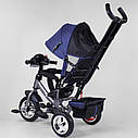 Детский трехколесный велосипед с фарой синий Best Trike 6588 бескамерное колесо ПЕНА детям от 1 года, фото 2