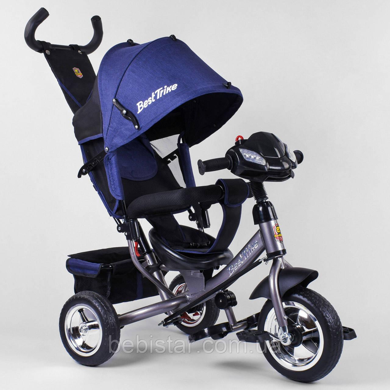 Детский трехколесный велосипед с фарой синий Best Trike 6588 бескамерное колесо ПЕНА детям от 1 года