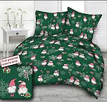 """Ткань новогодняя """"Гномы и серебристые снежинки: ягоды, посох, подарки"""" на зелёном фоне №3043, фото 5"""