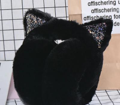 Теплые меховые наушники для девочки Kitty black
