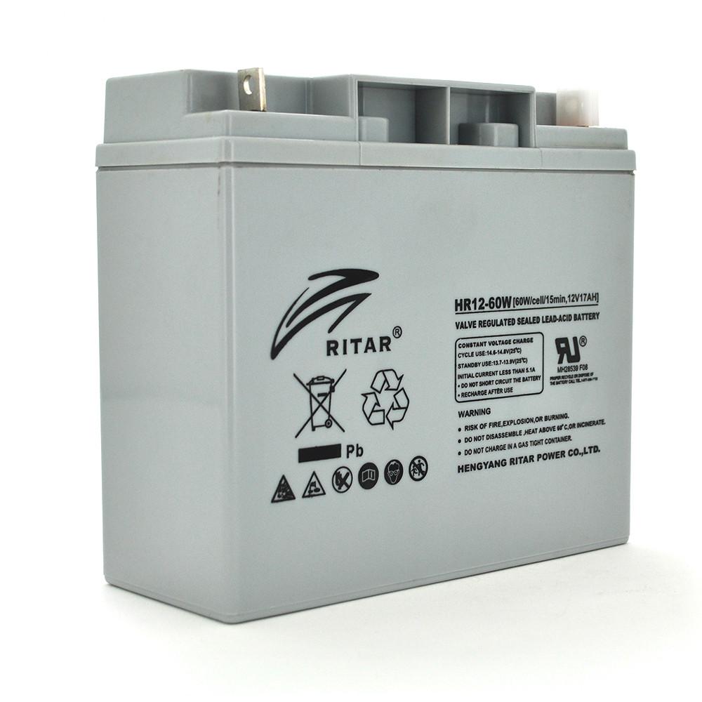 Аккумуляторная батарея AGM RITAR HR12-60W, Gray Case, 12V 17.0Ah  ( 181 х 77 х 167 (167 ) 4.56 kg Q4