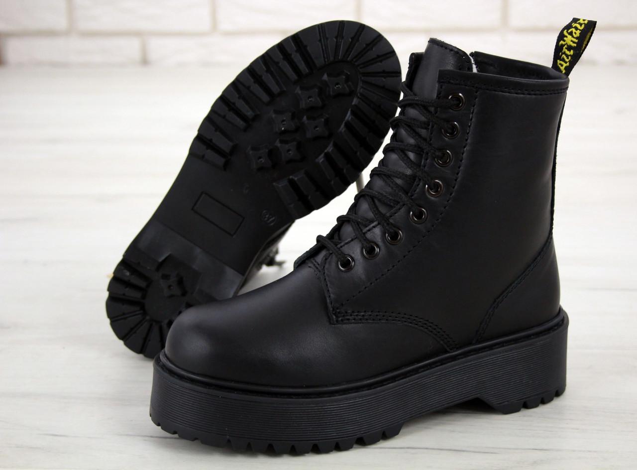 Жіночі зимові черевики Dr. Martens Jadon All black (Хутро). [Розміри в наявності: 36,37,39,40]