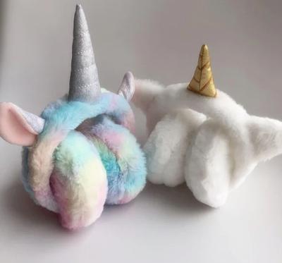 Теплые меховые наушники для девочки  Sweet unicorn white
