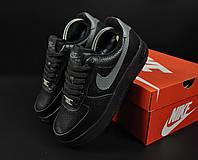 Кроссовки женские зимние Nike Air Force 1 черные, Найк, натуральная кожа, мех 100%, прошиты. Код KR-20869
