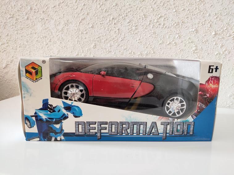 Машинка Трансформер Bugatti Robot Car Size 18 Красная