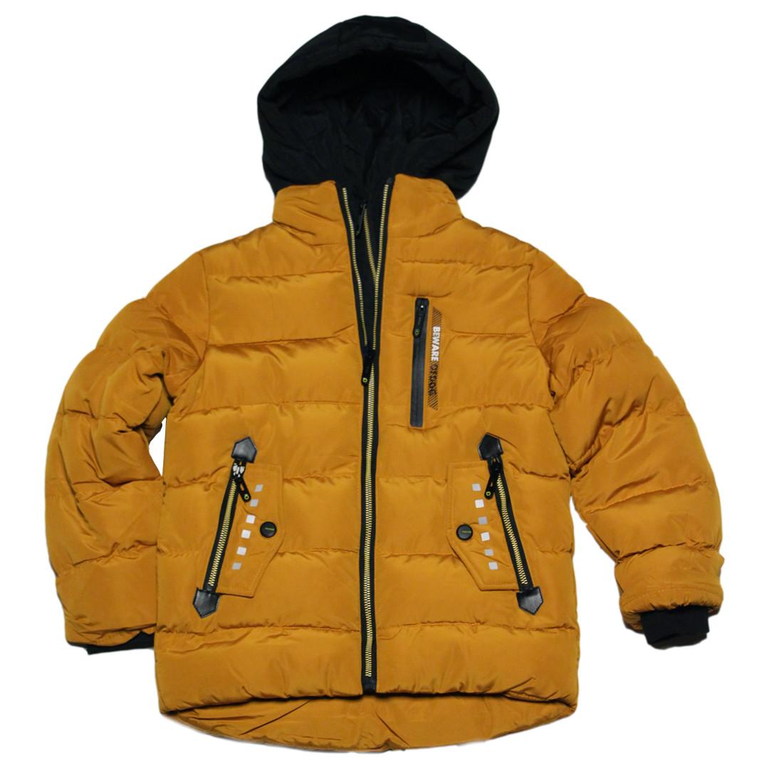 Теплая зимняя курточка на меху для мальчика 122-128 рост Венгрия горчичная