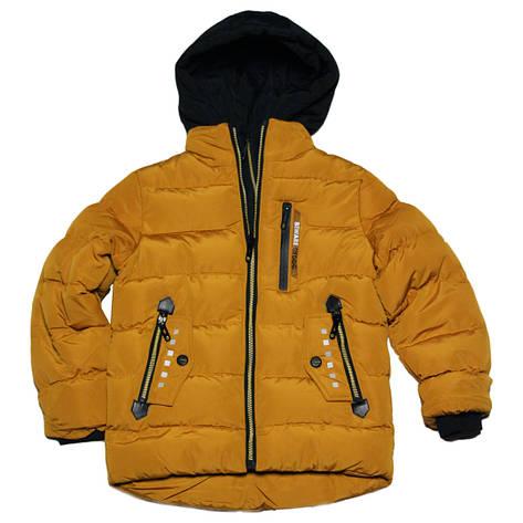 Теплая зимняя курточка на меху для мальчика 122-128 рост Венгрия горчичная, фото 2