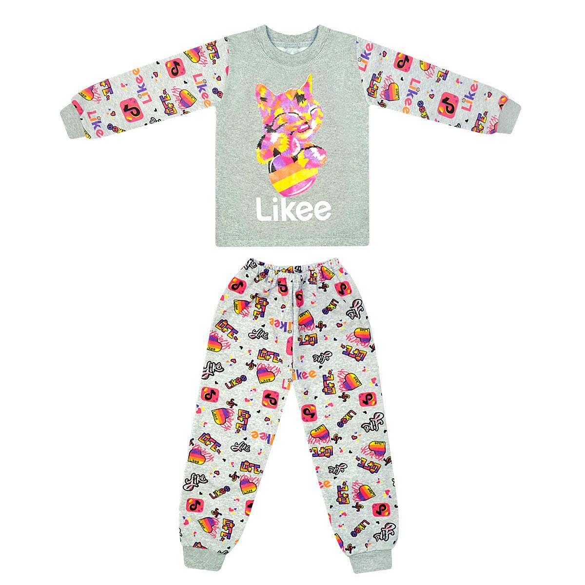 Теплая детская пижама для девочки с принтом Likee Кошка начес