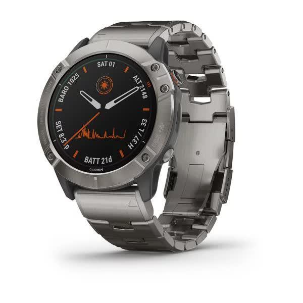 Смарт-годинник Fenix 6X Pro Solar титановий сріблястий з титановим ремінцем