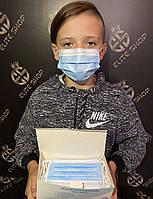 Детские голубые и черные маски медицинские защитные для лица! Отличное заводское качество, пайка, с держателем