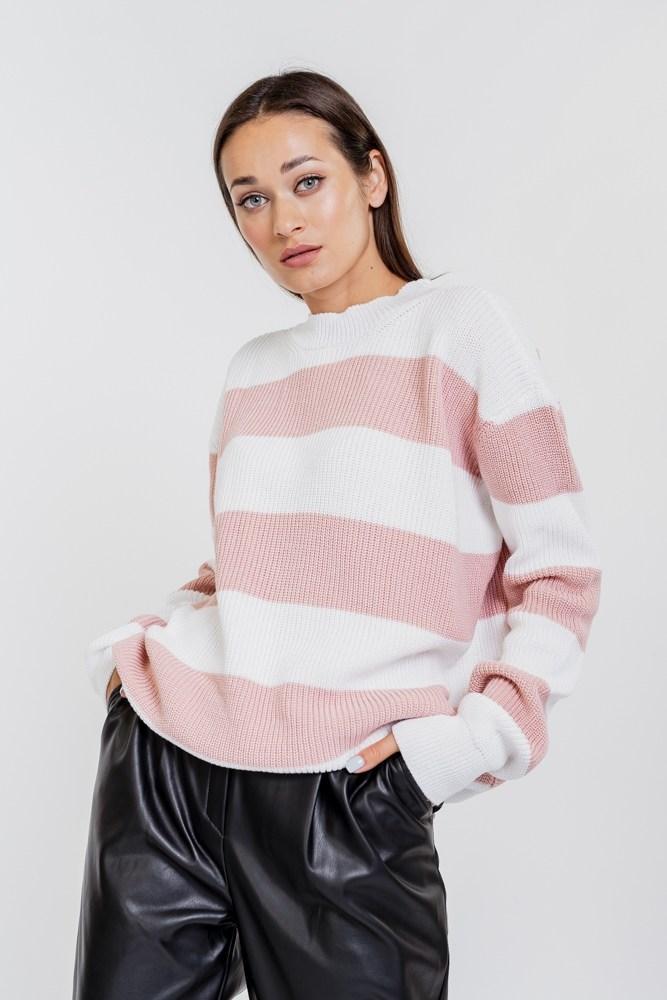 Женский вязаный джемпер в розовую полоску