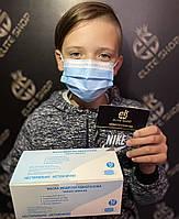 Маски для детей медицинские в синем цвете! В коробке 50 шт, трехслойные одноразовые, качество - супер!