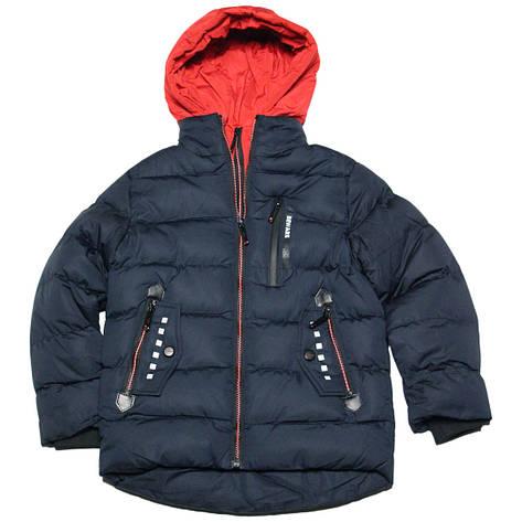 Модная зимняя стеганая куртка для мальчика 134-140 рост Венгрия синяя, фото 2