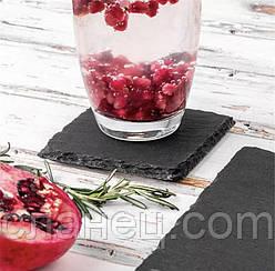 Підставка під стакани для напоїв з 4-х шт. 9,3*9,3 см сланец чорний