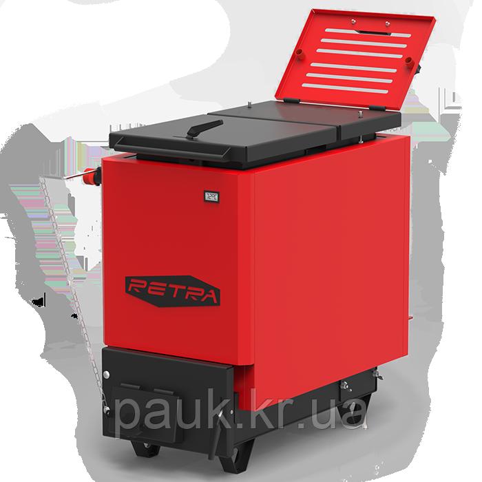 Котел на твердом топливе 40 кВт Retra 6M Red, котел шахтного типа, энергонезависимый