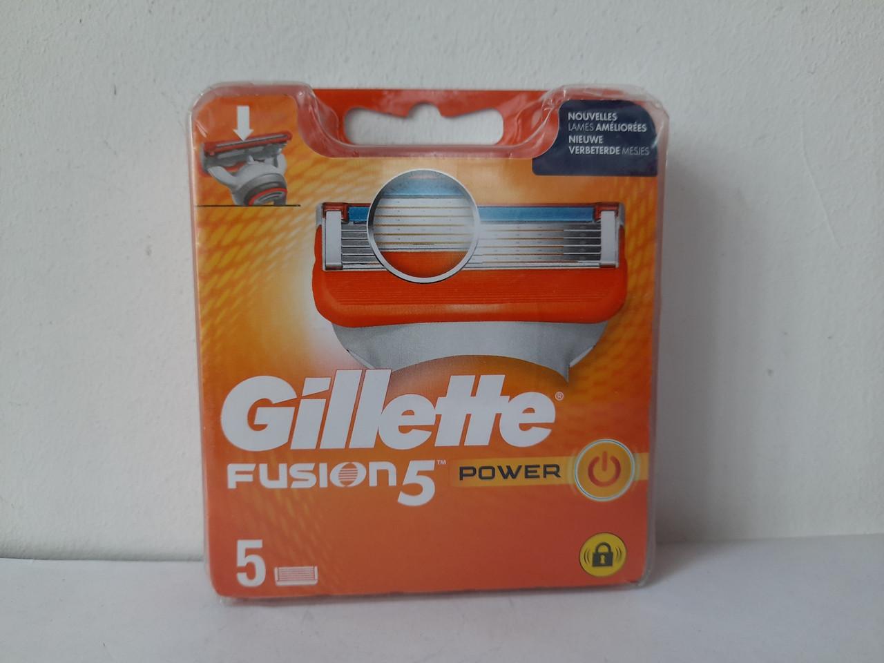 Кассеты мужские для бритья Gillette Fusion 5 Power - 5 шт. Новый диз. ( Фюжин 5 (кассета Павер!!) оригинал )