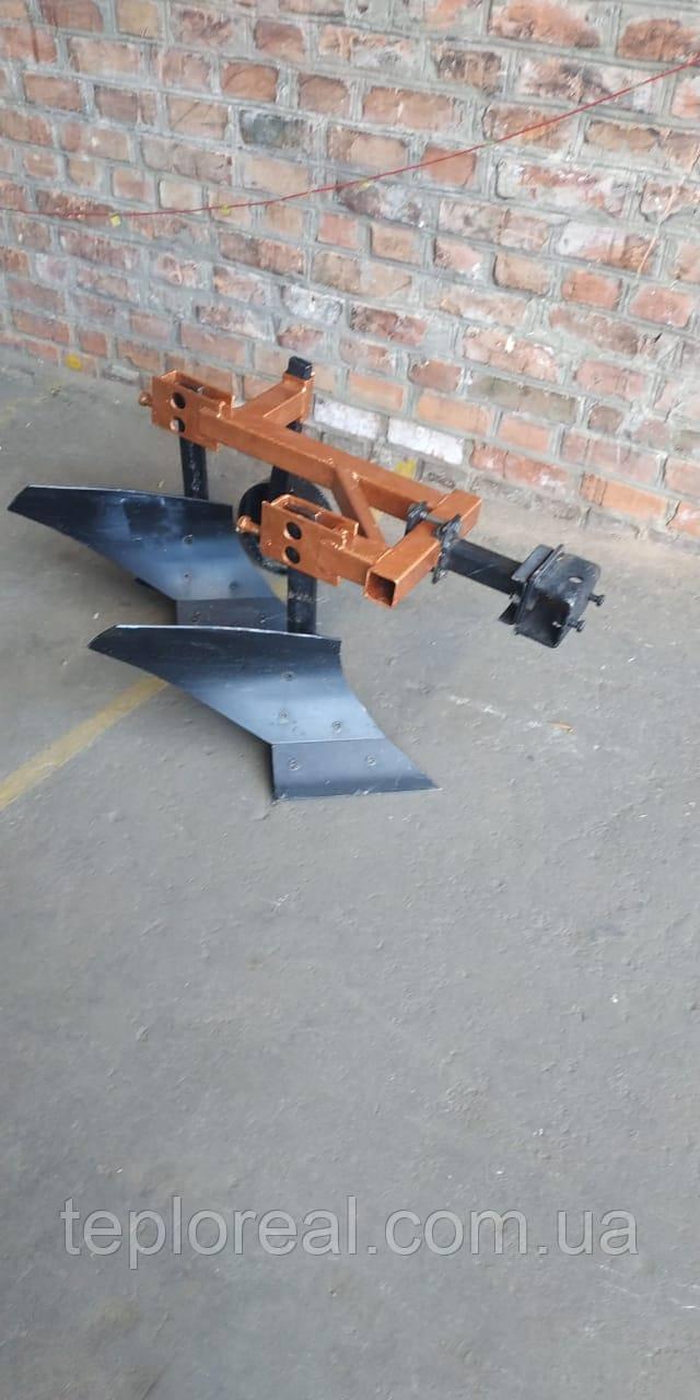 Плуг мотоблочный двух корпусный 2*20 с опорным колесом, удлиненная сцепка