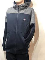 Cпортивный костюм мужской теплый на молнии с капюшоном Турция Темно-синий