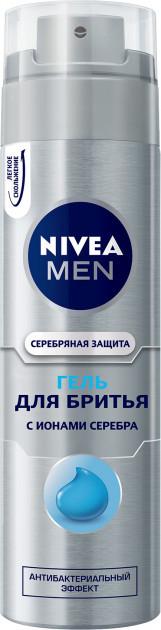 """Гель для бритья Nivea """"Серебряная защита"""" антибактериальный (200мл.)"""