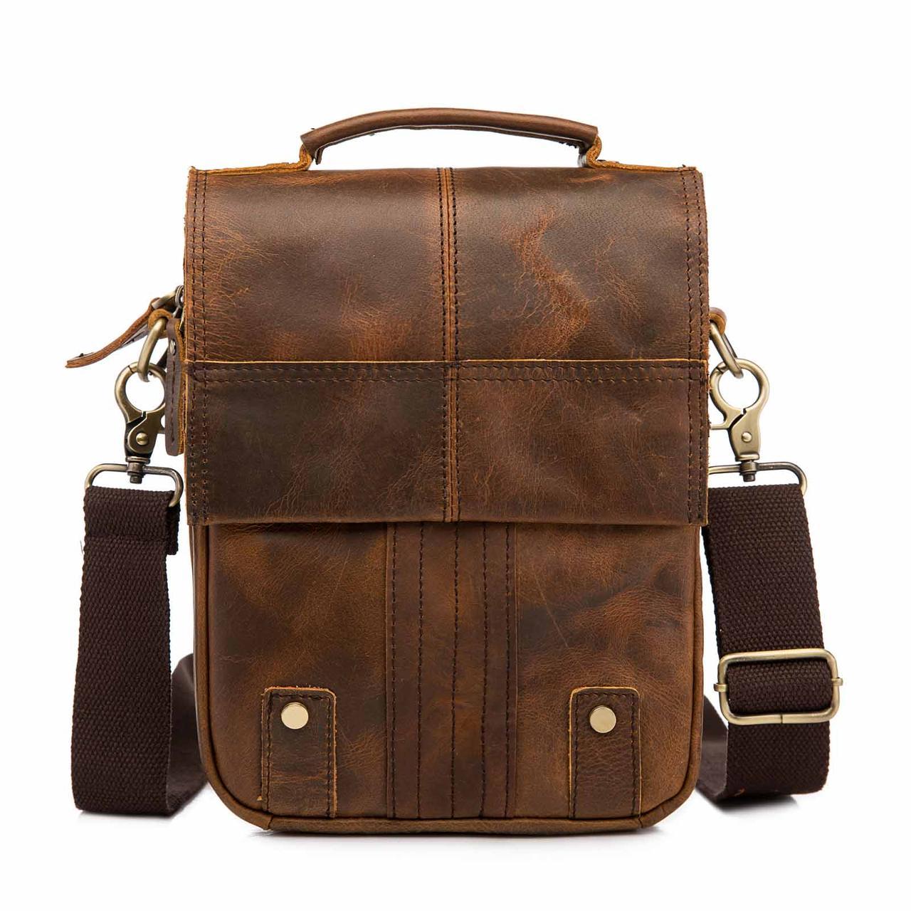 Чоловіча сумка через плече Натуральня шкіра Барсетка Чоловіча шкіряна сумка для документів планшет Коричнева