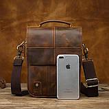 Чоловіча сумка через плече Натуральня шкіра Барсетка Чоловіча шкіряна сумка для документів планшет Коричнева, фото 3