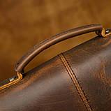 Чоловіча сумка через плече Натуральня шкіра Барсетка Чоловіча шкіряна сумка для документів планшет Коричнева, фото 10