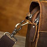 Чоловіча сумка через плече Натуральня шкіра Барсетка Чоловіча шкіряна сумка для документів планшет Коричнева, фото 6