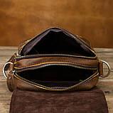 Чоловіча сумка через плече Натуральня шкіра Барсетка Чоловіча шкіряна сумка для документів планшет Коричнева, фото 7