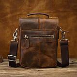 Чоловіча сумка через плече Натуральня шкіра Барсетка Чоловіча шкіряна сумка для документів планшет Коричнева, фото 4