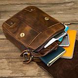 Чоловіча сумка через плече Натуральня шкіра Барсетка Чоловіча шкіряна сумка для документів планшет Коричнева, фото 8