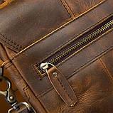Чоловіча сумка через плече Натуральня шкіра Барсетка Чоловіча шкіряна сумка для документів планшет Коричнева, фото 9